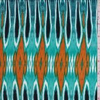 Aqua Green/Orange Flamestitch Diamond Crinkled Gauze