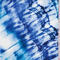 "Cobalt/White/Aqua ""Tie Dye"" Crinkled Gauze"