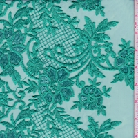 Teal Embroidered Floral Tulle