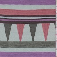 Sage/Purple Geometric Stripe Crepe de Chine