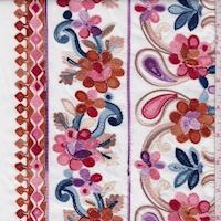 White/Orange Multi Embroidered Floral Rayon Challis