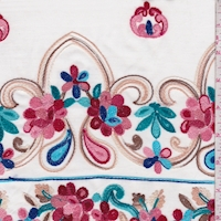 White/Teal Multi Embroidered Floral Rayon Challis