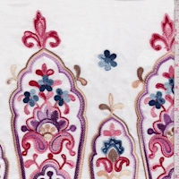 White/Red Multi Embroidered Moroccan Rayon Challis