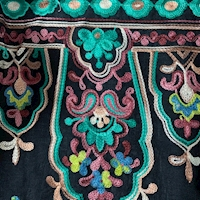Black/Aqua Multi Embroidered Moroccan Rayon Challis
