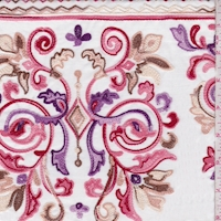 White/Red/Pink Embroidered Scroll Rayon Challis