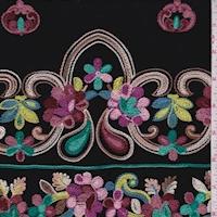 Black/Brick Multi Embroidered Floral Rayon Challis