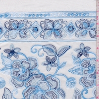 White/Sky Embroidered Floral Rayon Challis