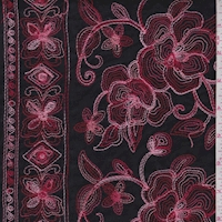 Black/Red/Pink Embroidered Floral Rayon Challis