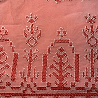 Salmon Pink/Coral Embroidered Aztec Rayon Challis