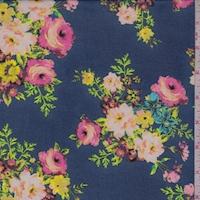 Ocean Blue Floral Bouquet Georgette