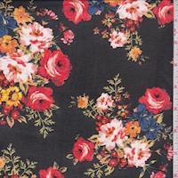 Black Floral Bouquet Georgette