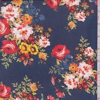 Navy Floral Bouquet Georgette