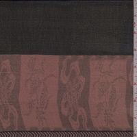 *7/8 YD PC--Black/Clay Border Stripe Silk Chiffon