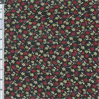*3 5/8 YD PC--Black/Berry Little Aster Floral Print Chiffon