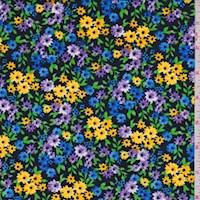 *2 1/8 YD PC--Black/Yellow/Blue Mini Floral ITY Knit