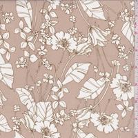 *1 5/8 YD PC--Hazelnut/White Cosmo Floral Chiffon
