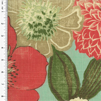 *1 1/2 YD PC--Designer Cotton Teal/Multicolor Floral Print Home Decorating Fabric