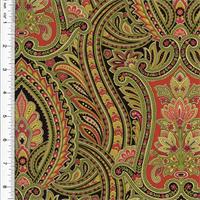 *6 YD PC--Designer Cotton Green/Multicolor Paisley Print Home Decorating Fabric