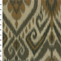 *3 1/2 YD PC--Brown/Beige Ikat Jacquard Home Decorating Fabric