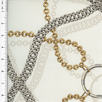 *1 3/8 YD PC--Designer Cotton White Chain Reaction Print Home Decorating Fabric