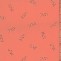 """Neon Orange/Silver """"Love"""" Georgette"""