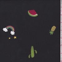 Black Fruit/Rainbow Double Brushed Jersey Knit