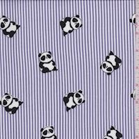Lavender Panda/Stripe Double Brushed Jersey Knit