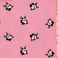 Hot Pink Panda/Stripe Double Brushed Jersey Knit