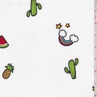 White Rainbow/Fruit Double Brushed Jersey Knit