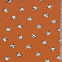 Pumpkin Kitty Double Brushed Jersey Knit