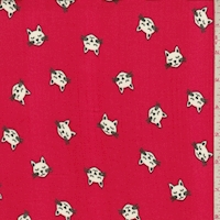 Berry Red Kitty Double Brushed Jersey Knit