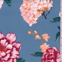 Dusty Blue Hydrangea/Floral Double Brushed Jersey Knit