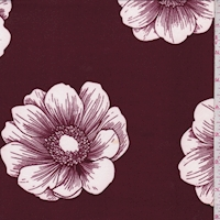 Maroon/White Floral Bloom Double Brushed Jersey Knit