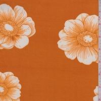 Dark Orange/White Floral Bloom Double Brushed Jersey Knit