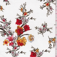 White/Ruby Floral Sprig Double Brushed Jersey Knit