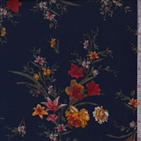 Deep Blue/Fire Floral Sprig Double Brushed Jersey Knit