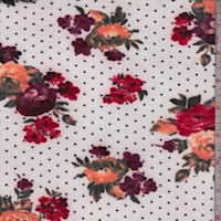 Off White Floral Dot Double Brushed Jersey Knit