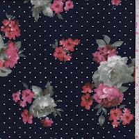 Dark Ink Floral Dot Double Brushed Jersey Knit