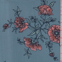 Dusty Blue Cosmo Floral Double Brushed Jersey Knit