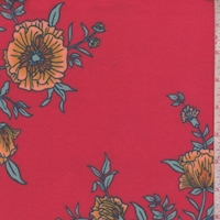 Bright Red Cosmo Floral Double Brushed Jersey Knit