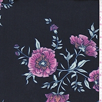 Black/Mulberry Cosmo Floral Double Brushed Jersey Knit