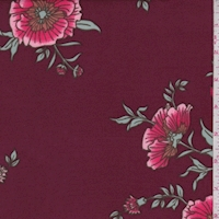 Wine/Raspberry Cosmo Floral Double Brushed Jersey Knit