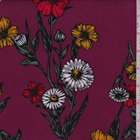 Dark Magenta Daisy Floral Double Brushed Jersey Knit
