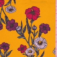 Marigold Daisy Floral Double Brushed Jersey Knit