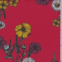 Red Daisy Floral Double Brushed Jersey Knit