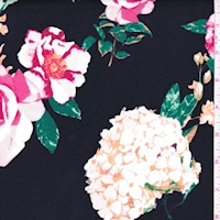 Black Hydrangea/Floral Double Brushed Jersey Knit