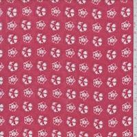 Coral Red/White Batik Look Rayon Challis