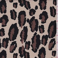*4 7/8 YD PC--Stone Beige Cheetah Print Double Brushed Jersey Knit