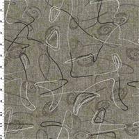 *7/8 YD PC--Brown/Yellow Wool Blend Printed & Embroidered Tweed