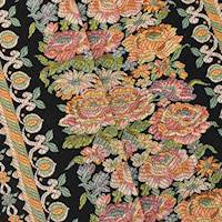 *2 YD PC--Black/Orange/Multi Floral Stripe Tapestry Home Decorating Fabric